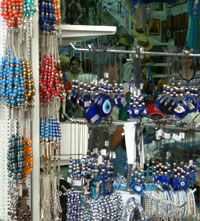 All colurs, types of worry beads, charms and bracelets in this Plaka shop