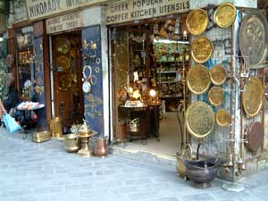 All kinds of shops and goods offered for sale in the Plaka area of Athens