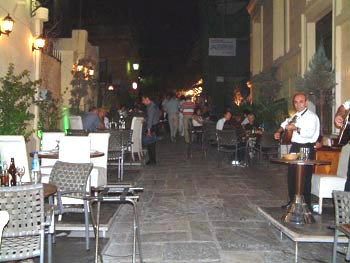 Music and pleasure eating out in Plaka, Athens