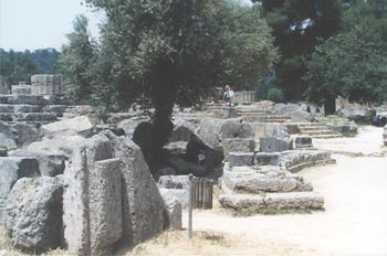 Ruins of Olympis with temples, and buildings related to the Olympic Games