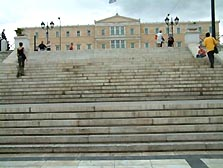 Athens Parliament up the steps from Syntagma Square
